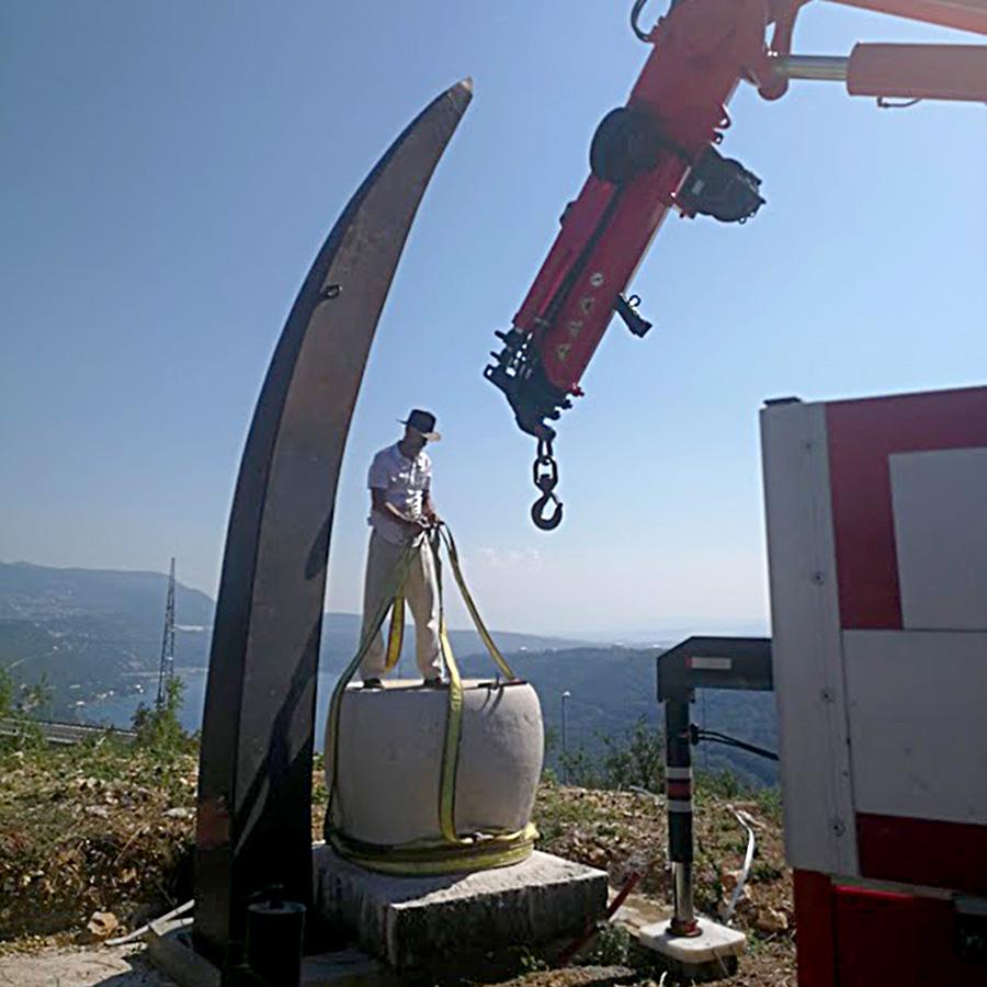 Postavljanje skulpture Ognjišće Damira Šegote u prostor, Forma Viva Sveti Kuzam